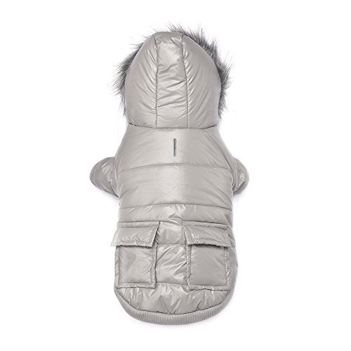 LESYPET Cold Weather Dog Coat for Small to Medium Breeds Dog with Cute Hoodies Grey, XX-Large