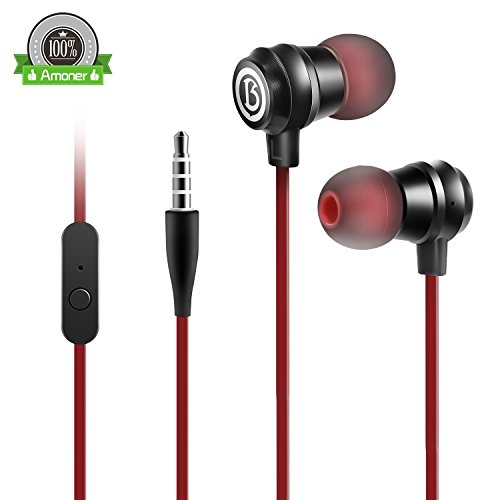 Earbud Headphones, Wired in-Ear Earbuds Headphones Noise Isolation Headsets Heavy Bass Earphones with Microphone Compatible with Most Smartphones All 3.5mm Devices (RED)