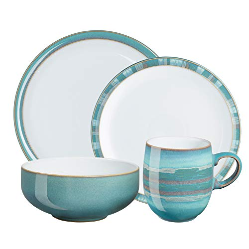(Denby AZR-4PCC Azure & Coast Mix and Match 4 pc Dinnerware Set, One size, aqua; teal )