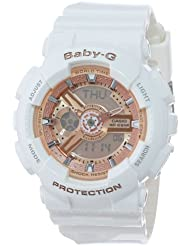 Casio Womens BA-110-7A1CR Baby-G Rose Gold Analog-Digital Watch with White Resin Band