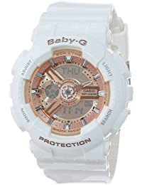 Women's BA-110-7A1CR Baby-G Rose Gold Analog-Digital Watch with White Resin Band