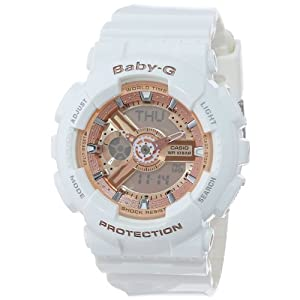 41RLKWjYiaL. SS300  - Casio Women's BA-110-7A1CR Baby-G Rose Gold Analog-Digital Watch with White Resin Band