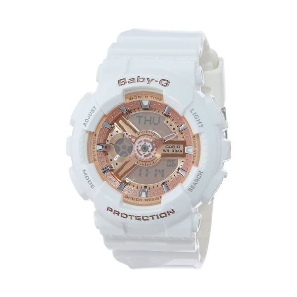 41RLKWjYiaL. SS600  - Casio Women's BA-110-7A1CR Baby-G Rose Gold Analog-Digital Watch with White Resin Band