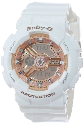 Casio Women's BA-110-7A1CR Baby-G Rose Gold Analog-Digital Watch with White Resin - White Womens Gold Watch
