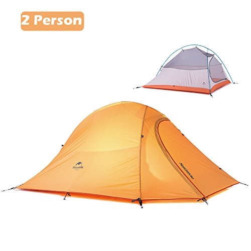 Azarxis 1 2 3 Person Man 3 4 All Season Tents for Camping Backpacking Easy Set Up Waterproof Lightweight Professional Double Layer Aluminum Rod Hiking Hunting (Orange – 2 Person)