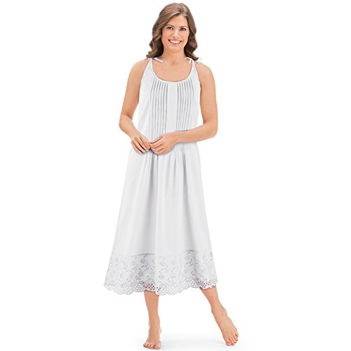 Women's Eyelet Hem Pintuck Sleeveless Tie Shoulder Knee Length Cotton Nightgown, White, Medium
