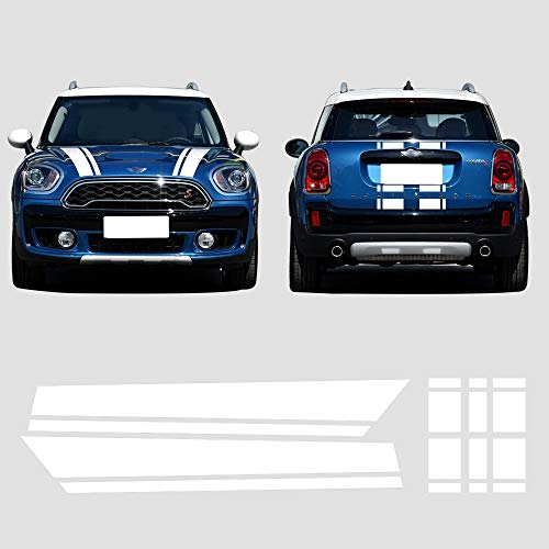 CHARMINGHORSE Bonnet Stripe Graphics Sticker Hood Trunk Rear Decal Stickers for Mini Cooper S Countryman F60 2017-4 Colors (White)