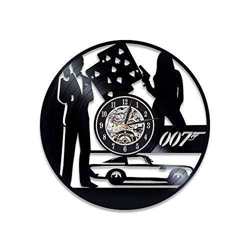 Metal Bond Clock (James Bond Wall Clock 007 Best Gift James Bond Handmade Wall Art Retro Vinyl Record Wall Clock)
