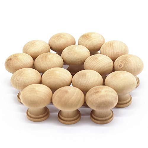 WEICHUAN 16PCS Round Unfinished Wood Cabinet Furniture Drawer Knobs Pulls Handles (Diameter: 3.7cm Height: - Knob Wood Round