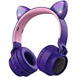 Auriculares inalámbricos Bluetooth para niños, Aresrora con orejas de gato Bluetooth para limitar el volumen, luces LED, radi