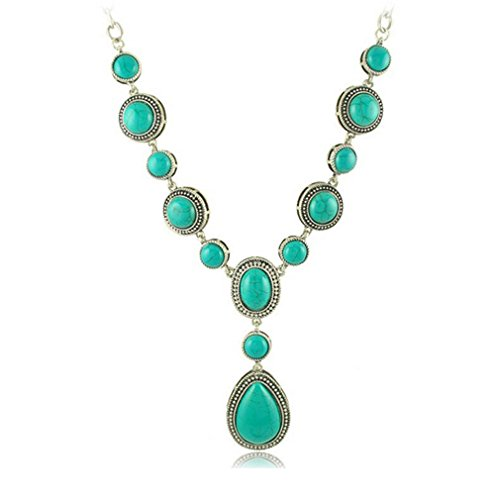 G&T European New Long Necklace Retro Turquoise Pendant Sweater Chain Necklace(C1)