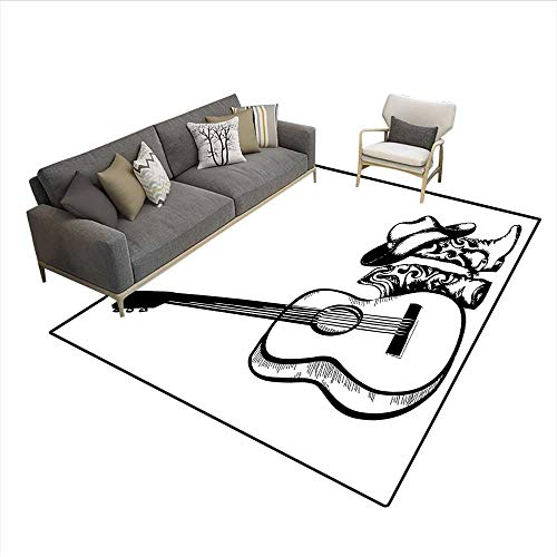 Carpet,Country Music Theme with Cowboy Shoes Hat and Guitar Instrument Sketch Art,Customize Rug Pad,Black and White 6