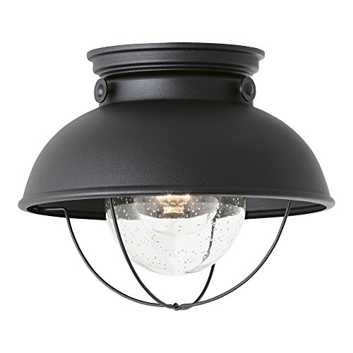 Aluminum Outdoor Ceiling Fixture - Sea Gull Lighting 8869-12 Sebring One-Light Outdoor Flush Mount Ceiling Light with Clear Seeded Glass Diffuser, Black Finish