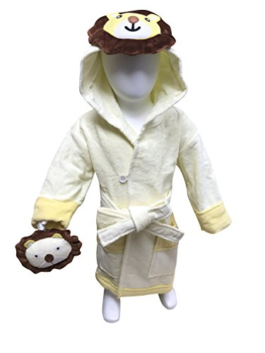 MINERVA Baby&Kids Lion Bathrobe & Plush Toy Gift Set For 2 ~ 8 Years Old 100% Virgin Cotton (M) by MINERVA HOME