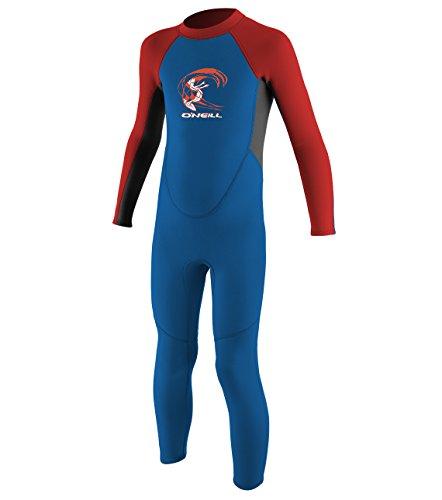 O'Neill Toddler Reactor-2 2mm Back Zip Full Wetsuit, Ocean/Graphite/Red, 3 ()