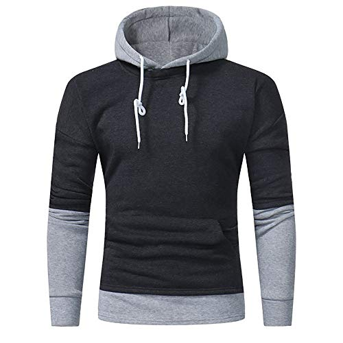 (Toimothcn Mens Hoodie Long Sleeve Patchwork Hooded Sweatshirt Pullover Tops Outwear Slim Fit(Deep Gray,M))