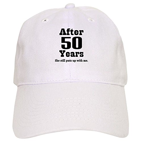 CafePress 50Th Anniversary Funny Quote Baseball Cap with Adjustable Closure, Unique Printed Baseball Hat White