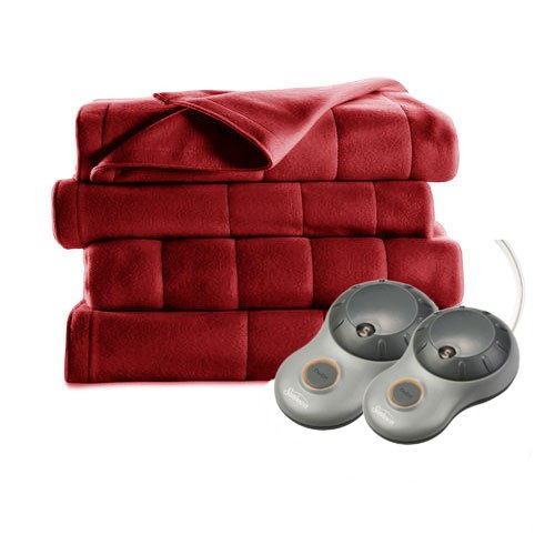Sunbeam Heated Blanket | 10 Heat Settings, Quilted Fleece, Garnet, Queen