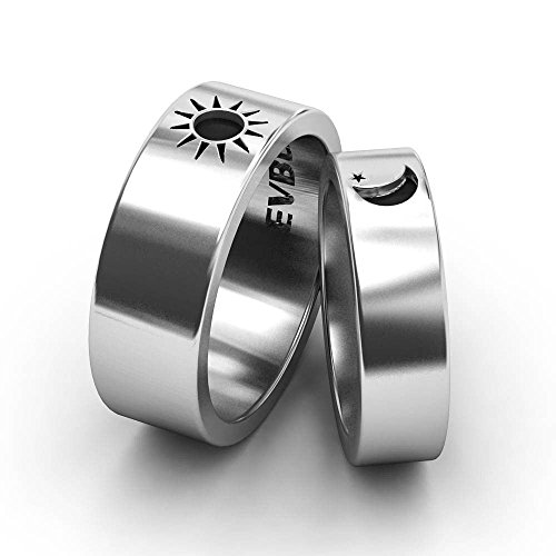 EVBEA Sun and Moon Ring Set Vintage Engagement Rings for Couple Stainless Steel Jewelry