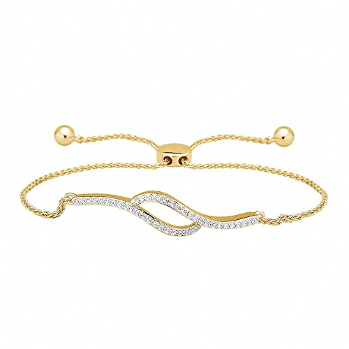 1/4 Ct Round Natural Diamond Bypass Bolo Style Bracelet In 14K Yellow Gold Over by omega jewellery (Image #5)