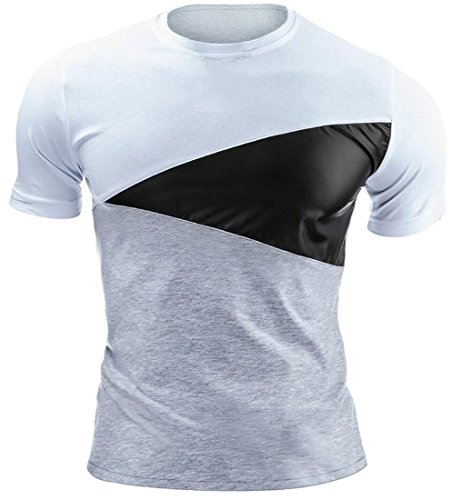 ARRIVE GUIDE Men's Classic-Fit Crewneck Short Sleeve Splice T-Shirts Tops White Small