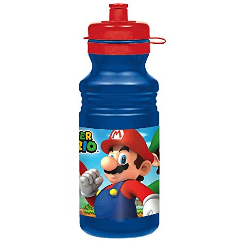 Amscan Super Mario Brothers Birthday Party Sports Drink Bottle Favor, Blue/Red, 18 oz