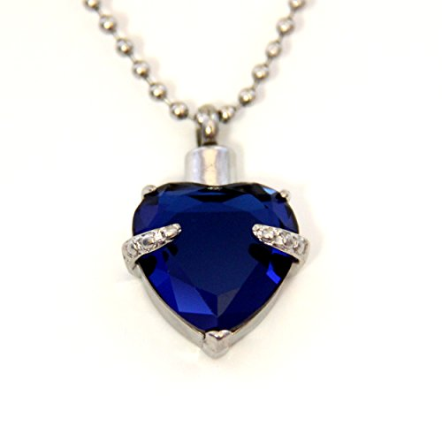 Sapphire blue heart cremation urn necklace jewelry for Sapphire studios jewelry reviews