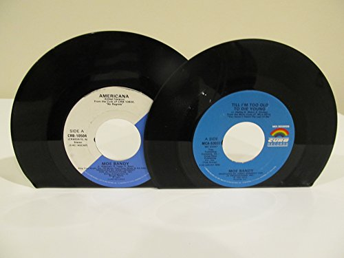 vinyl-record-bookends-45-rpm-records-moe-bandy-on-mismatched-curb-records