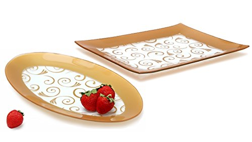 GAC Tempered Glass Oval Platter and Rectangular Serving Tray Set Gold Decorative Serving Platters - Break and Chip Resistant - Microwave Safe - Oven Safe - Dishwasher Safe (Economy ()