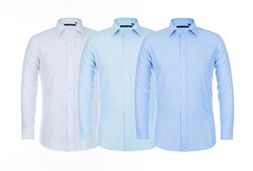 Verno Fashion Men's Printed Bow Tie Classic Fit Long Sleeve Dress Shirt- Available in More Colors