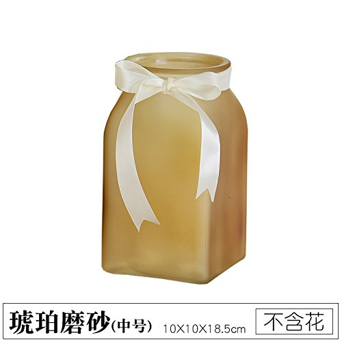 Colored Transparent Glass vase Living Room Desk Decoration (Without Flowers), Amber Matte, 10X10X18.5CM,for Home and Wedding Indoor and Outdoor ()