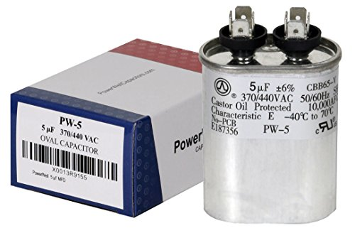 PowerWell 5 uf MFD 370 or 440 VAC Oval Run Capacitor PW-5 for Fan Motor Blower Condenser in Air Handler Straight Cool or Heat Pump Air Conditioner - Guaranteed to Last 5 Years (440v Capacitor)