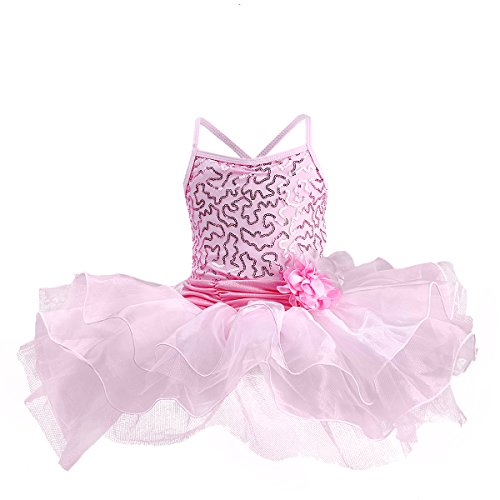 Little Girls Toddler Flower Sequins Camisole Ballet Dance Leotard Tutu Skirt Princess Ballerina Glittering Dancewear Costume, Pink, -