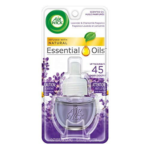 Air Wick Scented Oil Air and Room Freshener Refill, Natural, Essential oils, Lavender and Chamomile, Scent, 1 Refill 0.67 oz (Pack of 16)