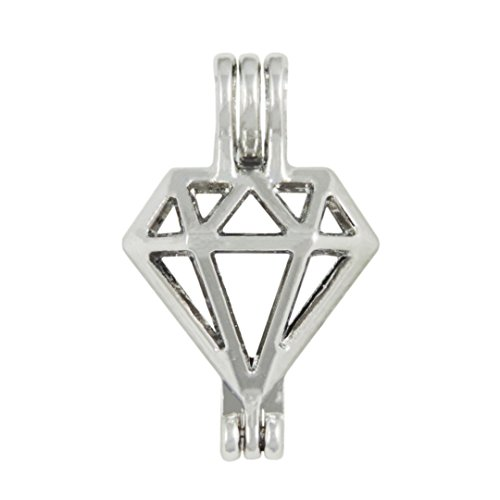 10 pcs Stainless Steel Tones Alloy Diamond Shape Bead Cage Pendant - Add Your Own Pearls, Rock to Cage,Add Perfume and Essential Oils to Create a Scent Diffusing Locket Holiday Souvenir Gifts Charms