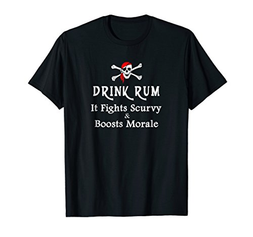 Mens Drink Rum It Fights Scurvy & Boosts Morale Pirate T-shirt Medium Black