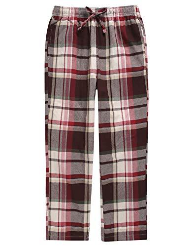 TINFL Boys Plaid Check Soft 100% Cotton Lounge Pants BLP02-15-Brown L