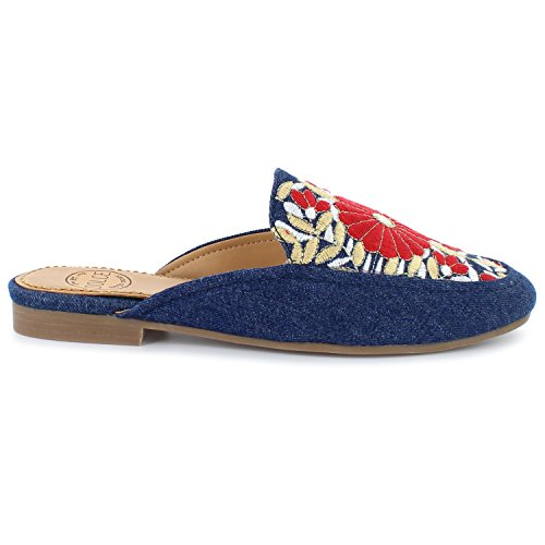 by Slide Dolce Moxy Mules Hanna Embroidered Denim Mojo vqdHdwB