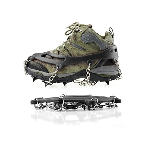 LC Prime Crampons Non-slip Shoes Cover, 8 Teeth Claws Stainless Steel Chain for Outdoor Ski Ice Snow Hiking Climbing stainless steel black, by by LC Prime