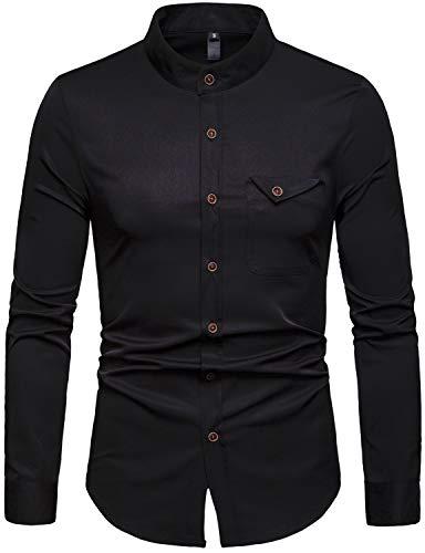 ZEROYAA Men's Hipster Pocket Design Slim Fit Long Sleeve Band Collar Dress Shirts ZHCL26 Black Medium