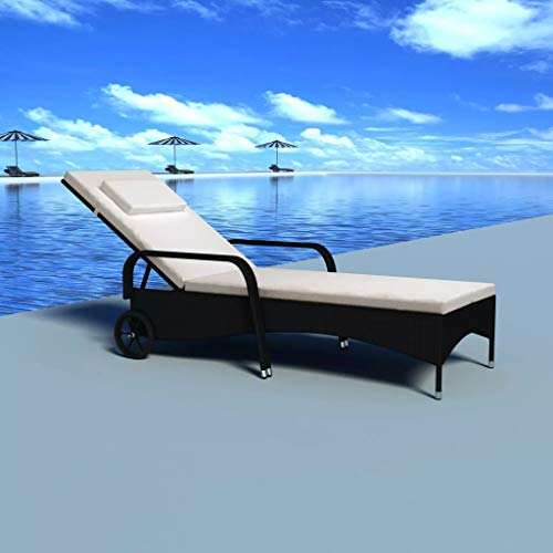 Outdoor Chaise Lounge Adjustable, Lounge Chair Rattan with Cushions, Wheels for Poolside, Patio, Garden, Beach Black
