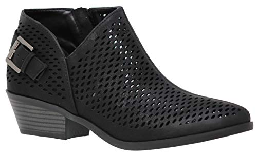 MVE Shoes Cute Western Cowboy Bootie - Womens Pointed Toe Slip On Ankle Boot -Back Zip up Low Heel