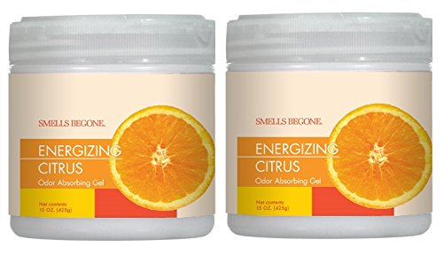 (Smells Begone Air Freshener Odor Absorber Gel - Made with Natural Essential Oils - Absorbs and Eliminates Odor in Pet Areas,Bathrooms,Cars & Boats - 2 Pack (15 Ounce) (Energizing Citrus Scent 2 Pack))