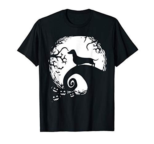 Dachshund Halloween Shirt (Dachshund And Moon Halloween TShirt For Dachshund)