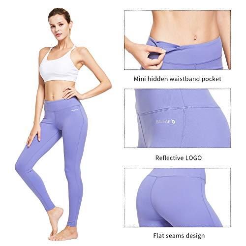 BALEAF Women's Ankle Legging Athletic Yoga Hiking Workout Running Pants Inner Pocket Non See-Through Paisley Purple Size L