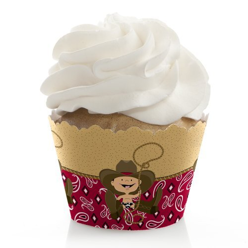 Little Cowboy - Western Baby Shower or Birthday Party Decorations - Party Cupcake Wrappers - Set of 12