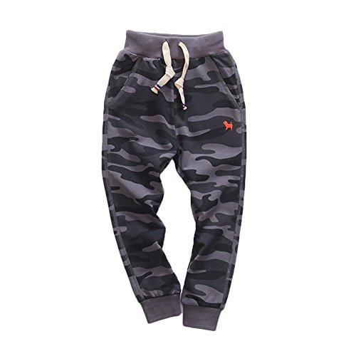 KISBINI Boy's Cotton Camouflage Sweatpants Sports Pants for Children Iron Grey ()