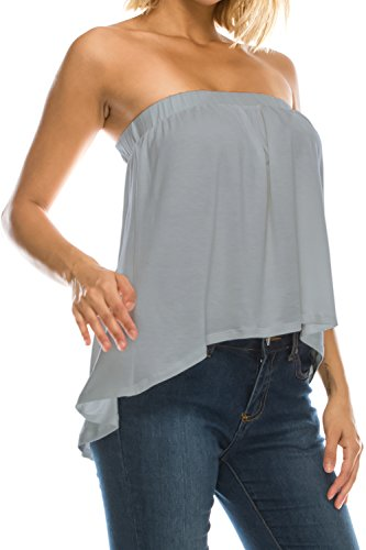 Jubilee Couture Womens High Low Ruffle Bottom Drapey Flowy Tube Top Blouse Made In USA-Light Grey,Medium