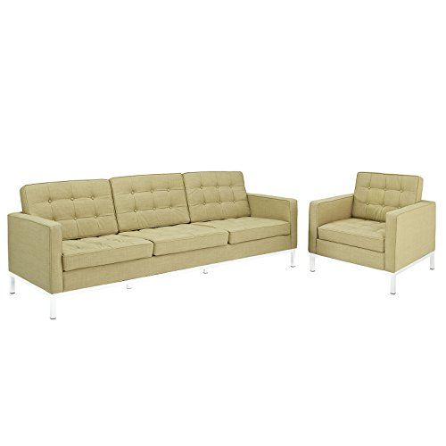 Modway Loft Armchair and Sofa, Green, Set of 2