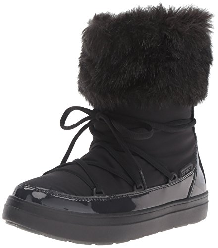 Croc Ankle Boot (Crocs Women's Lodge Point Lace Snow Boot, Black, 8 M US)